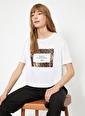 Koton Koton Leopar Desenli Yazı Baskılı Ekru T-Shirt Ekru